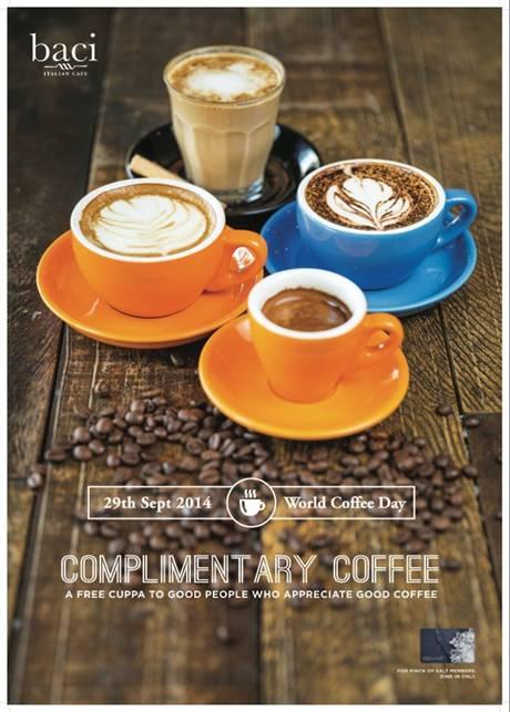 FREE Coffee on World Coffee Day @ Baci Italian Cafe