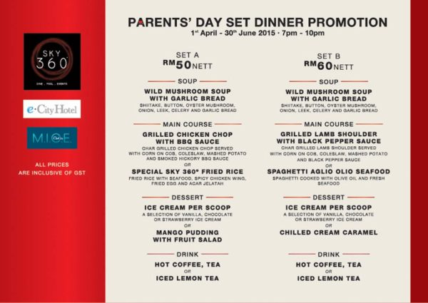 parents day menu 2015 sky 360 ecity hotel one city subang jaya