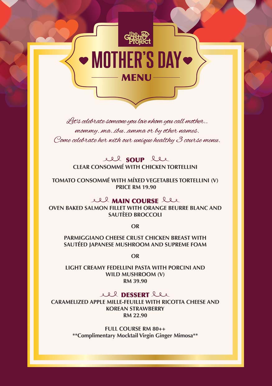 Mother's Day Menu 2015 @ The Gastro Project, Petaling Jaya