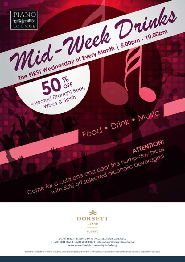 Mid-Week 50% Off Promotion @ Piano Lounge, Dorsett Grand Subang