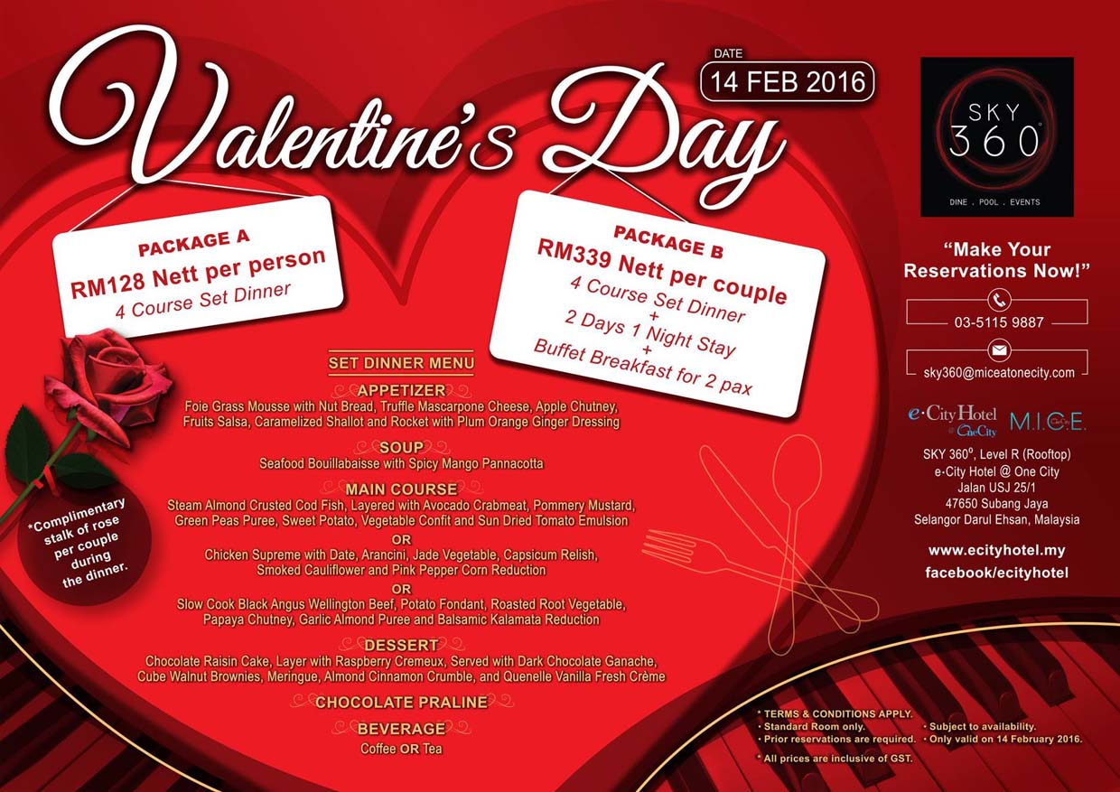 valentine day restaurant promotions valentines promotion 2016 sky 360 ecity hotel one city valentine day