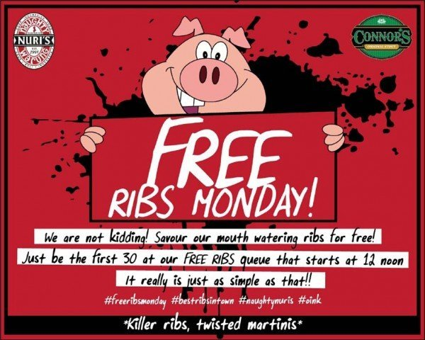 free ribs monday at naughty nuri