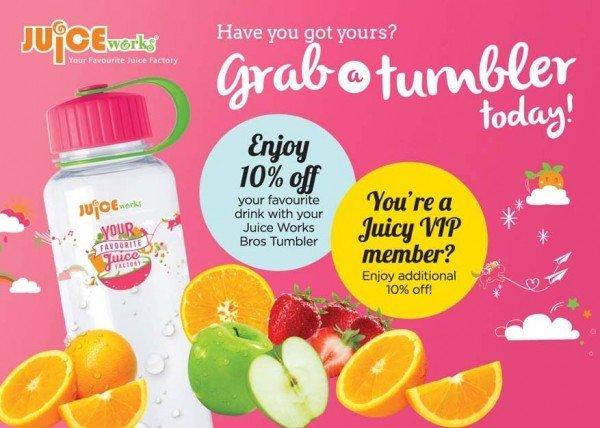 juice works pink bros tumbler promotion