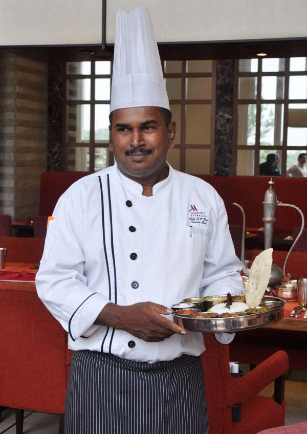 chettinad banana leaf meal zest lifestyle restaurant putrajaya marriott hotel indian chef koteswa rao