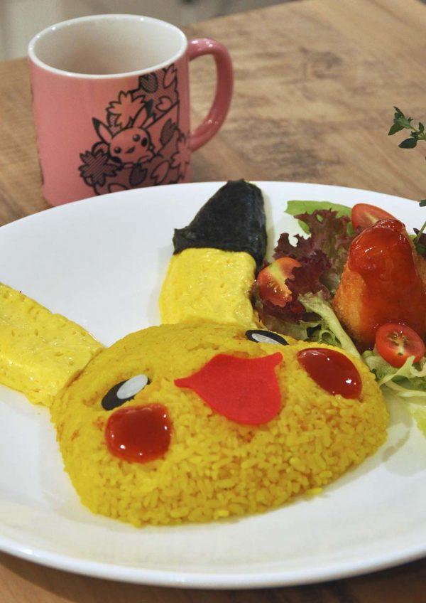 1st pokemon cafe malaysia aeon mid valley kuala lumpur pikachu smiling rice omelette