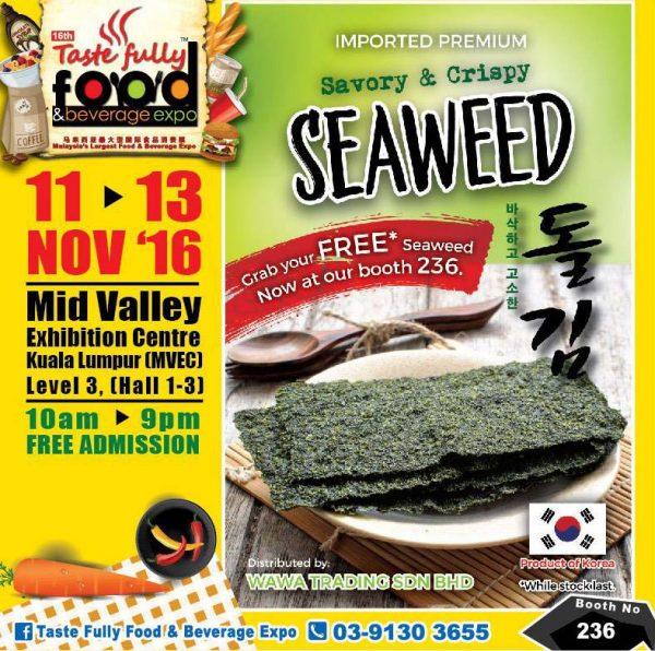 taste fully food and beverage expo mid valley kl november 2016 wawa trading seaweed