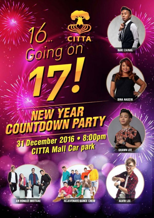 citta mall new year countdown party poster
