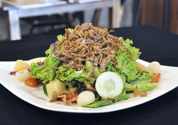 naughty nuri's asian food porky fest lavender pork rib salad
