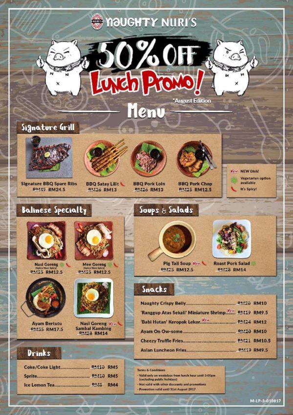 naughty nuri's balinese food half price lunch promo menu