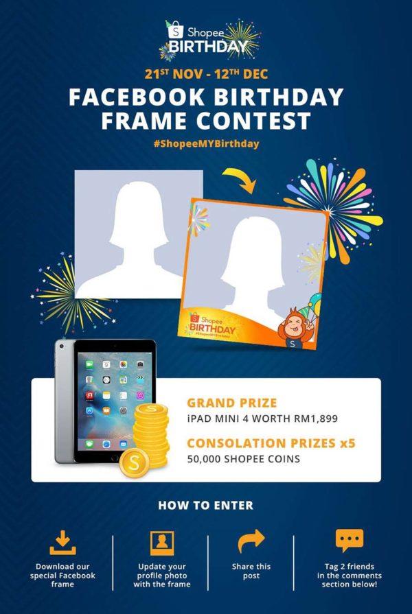 shopee 2nd anniversary celebration birthday frame facebook contest