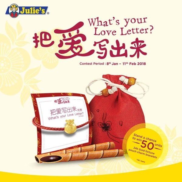 julies whats your love letter cny campaign gold fortune pouch charm bracelet