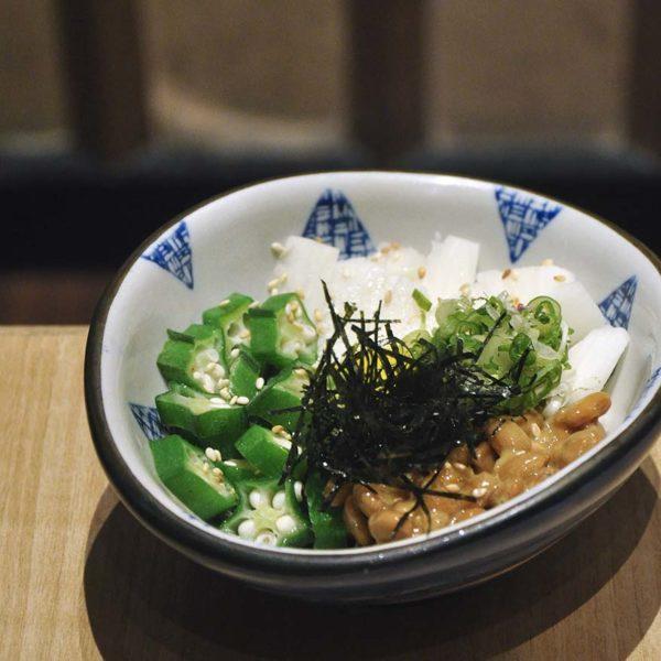 sushi tei japanese restaurant healthy menu okura natto to yamaimo senggiri