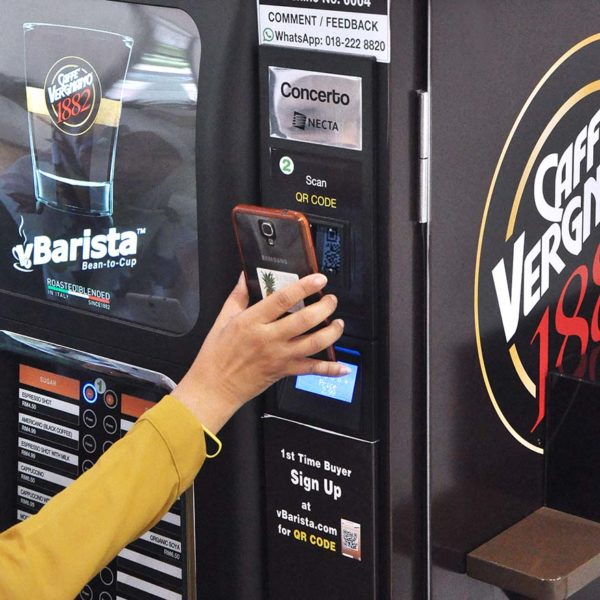 vbarista cashless fresh coffee vending machine qr code scanning