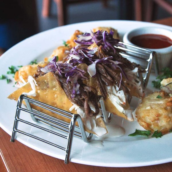 tony romas spin and savour lamb tacos with potatoes croquette