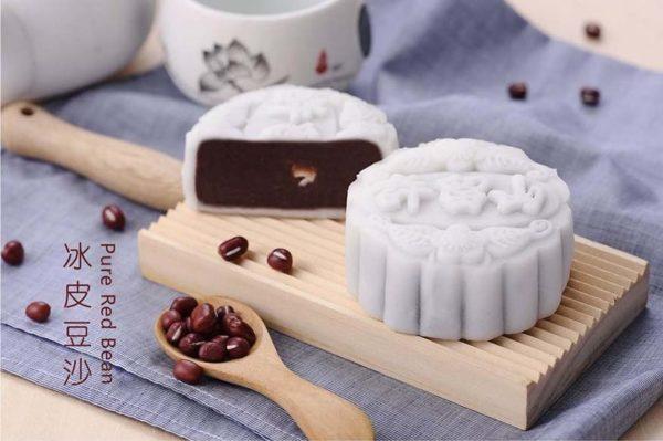 hui lau shan mid autumn festival snow skin mooncake pure red bean