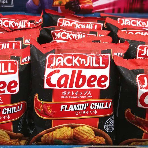 jack n jill calbee potato chips flamin chilli flavour