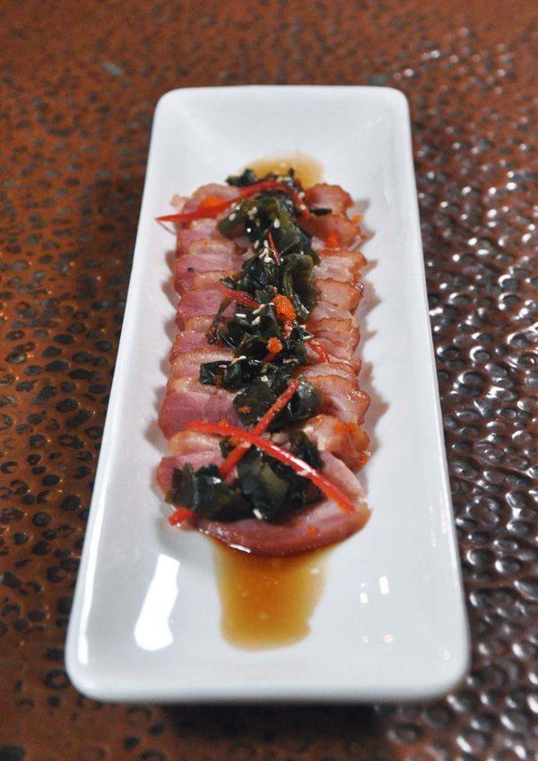 the x bangsar asian delight smoked duck wakame