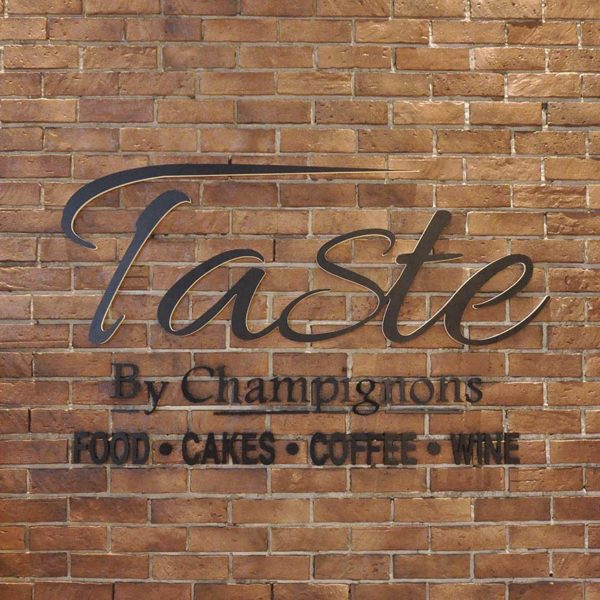 ekocheras mall taste by champignons french dining signage
