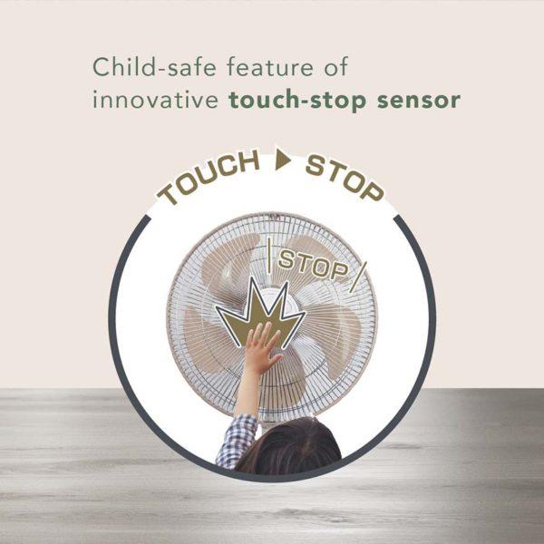 yamazen touch stop electric fan aeon touch stop sensor