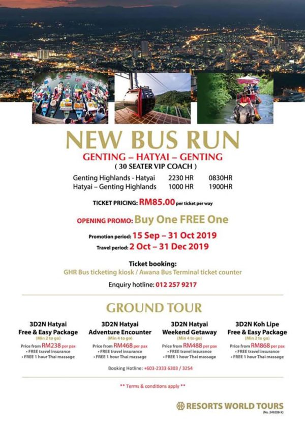 resorts world genting to hatyai thailand direct bus route packages