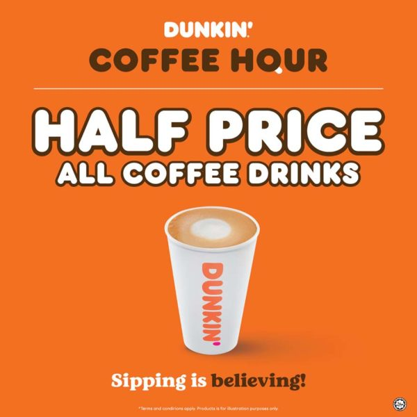 dunkin suria klcc new outlet half-priced coffee hours