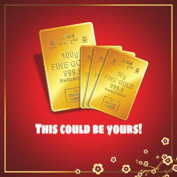 ara malls golden prosperity anyone can win cny campaign gold bar