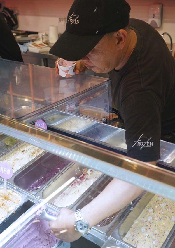 yakult ice cream frozen bangsar scooping