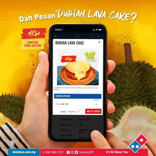 dominos pizza durian lava cake dessert online order