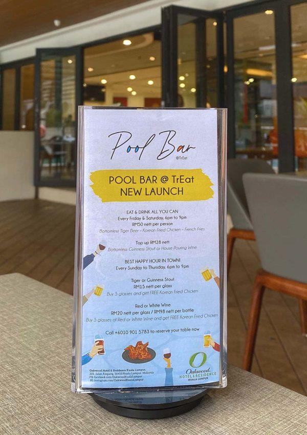 pool bar treat oakwood hotel residence kl promo menu