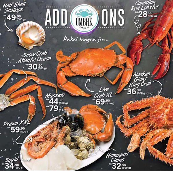 ombak kitchen seafood boil restaurant bangsar kuala lumpur premium menu