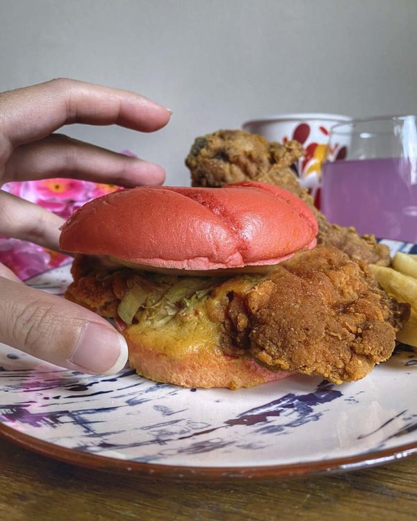 marrybrown cny egg-stra ong meal pink burger