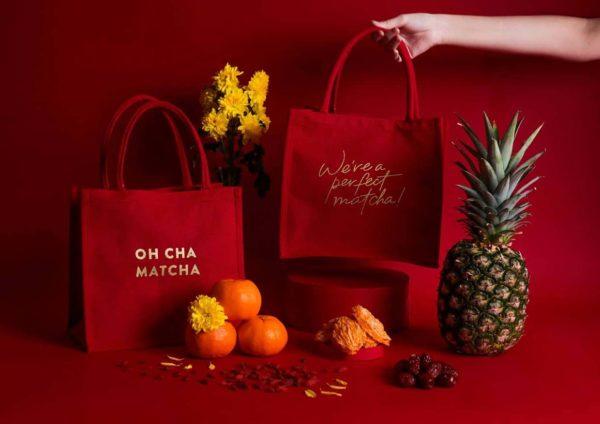 oh cha matcha lo hong ka cny gift set bag