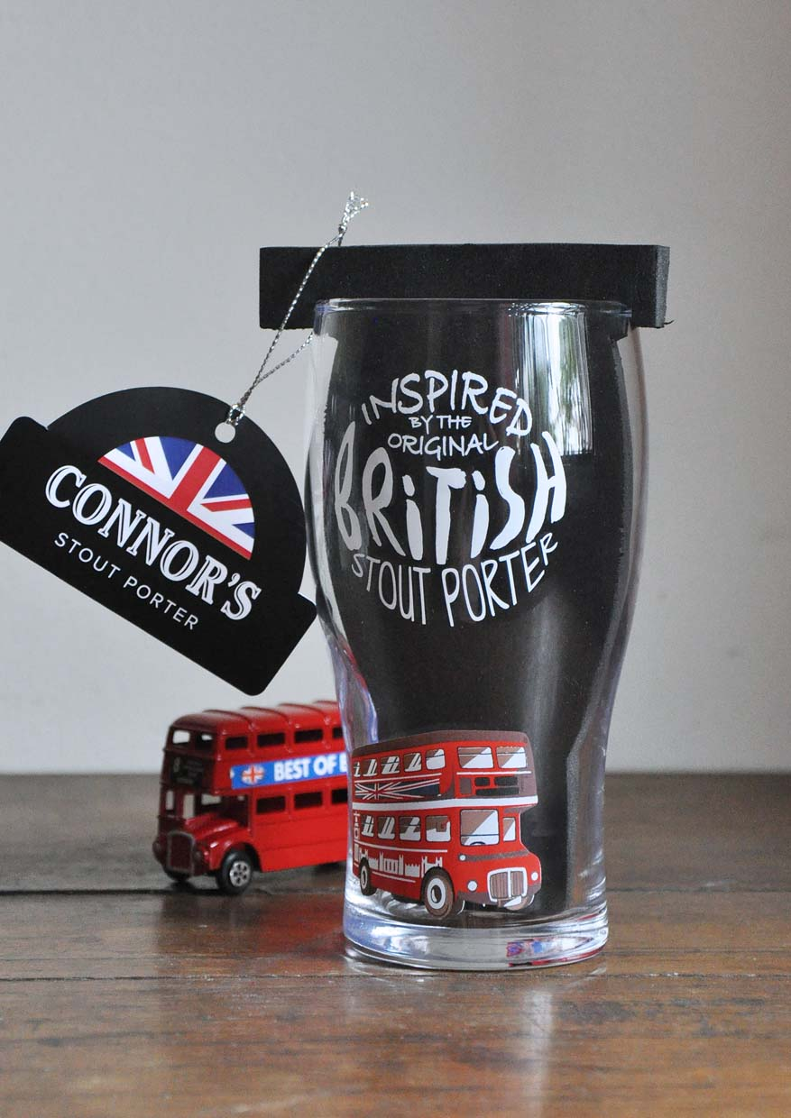 Limited Edition British Inspired Pint Glass, Gift Made Right by CONNOR'S Stout Porter
