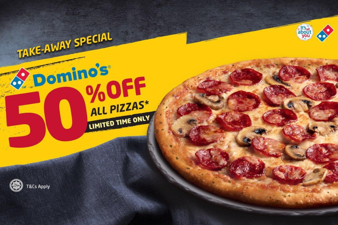 Enjoy Your Favourite Pizza 50% Off @ Domino's Pizza