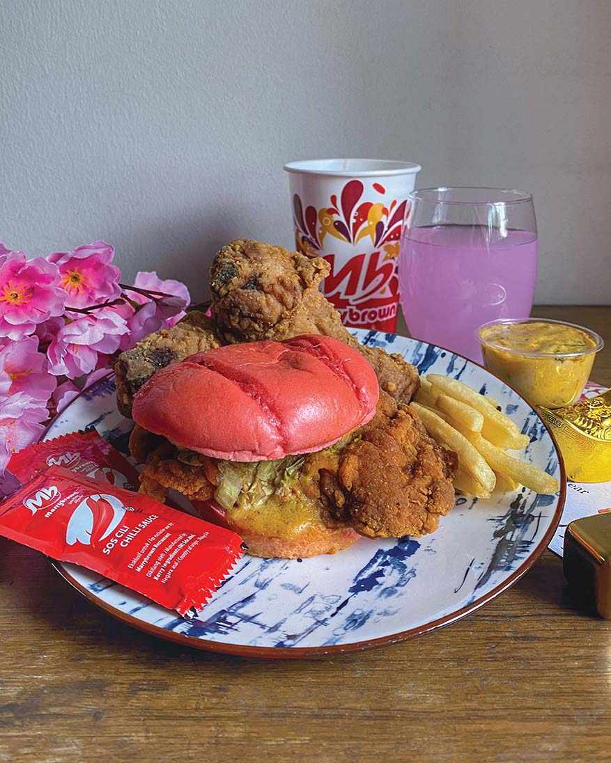 Pink Egg-stra ONG Meal with Salted Egg Sauce @ Marrybrown