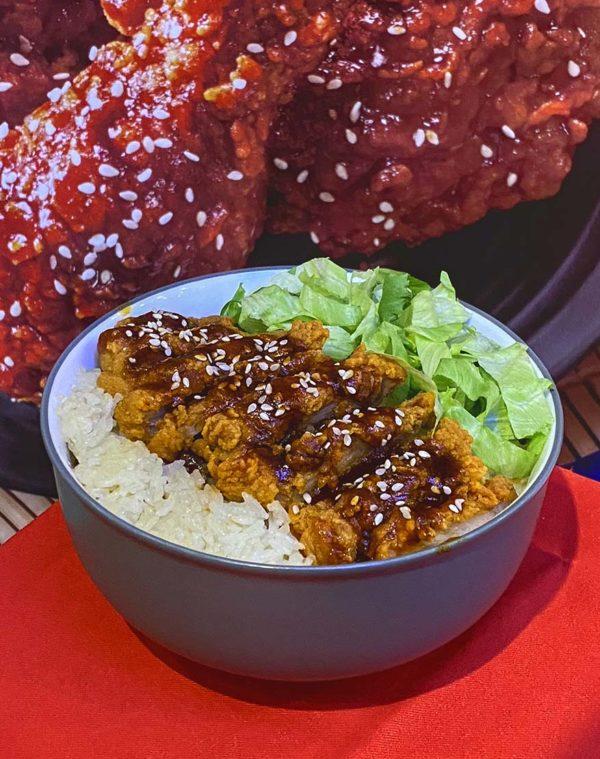 marrybrown korean inspired gangjeong chicken rice bowl