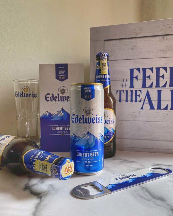 edelweiss premium wheat beer heineken malaysia sleek taller can
