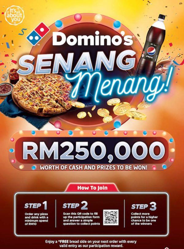 dominos pizza etika senang menang contest method