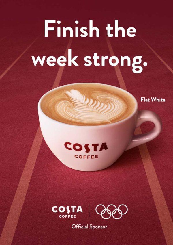 costa coffee golden caramel range olympic games tokyo 2020 flat white