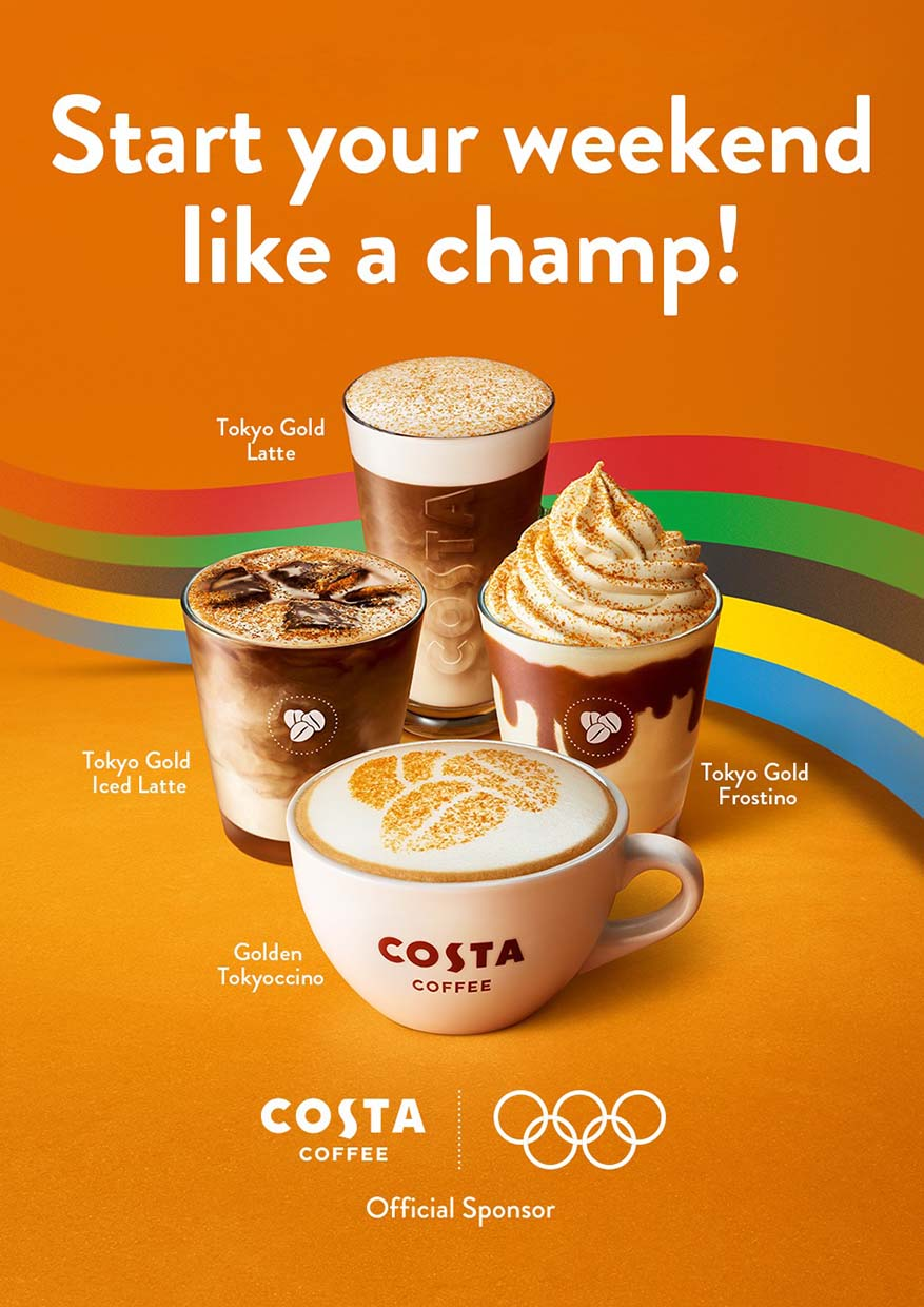Costa Coffee's New Golden Caramel Range In Partnership With Olympic Games Tokyo 2020